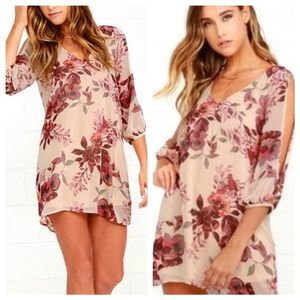 Lulu's Shifting Dears Beige Floral Print Dress NWT